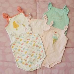 "Baby Girl Sleeveless ""Ice Cream"" Bodysuit Bundle/5"